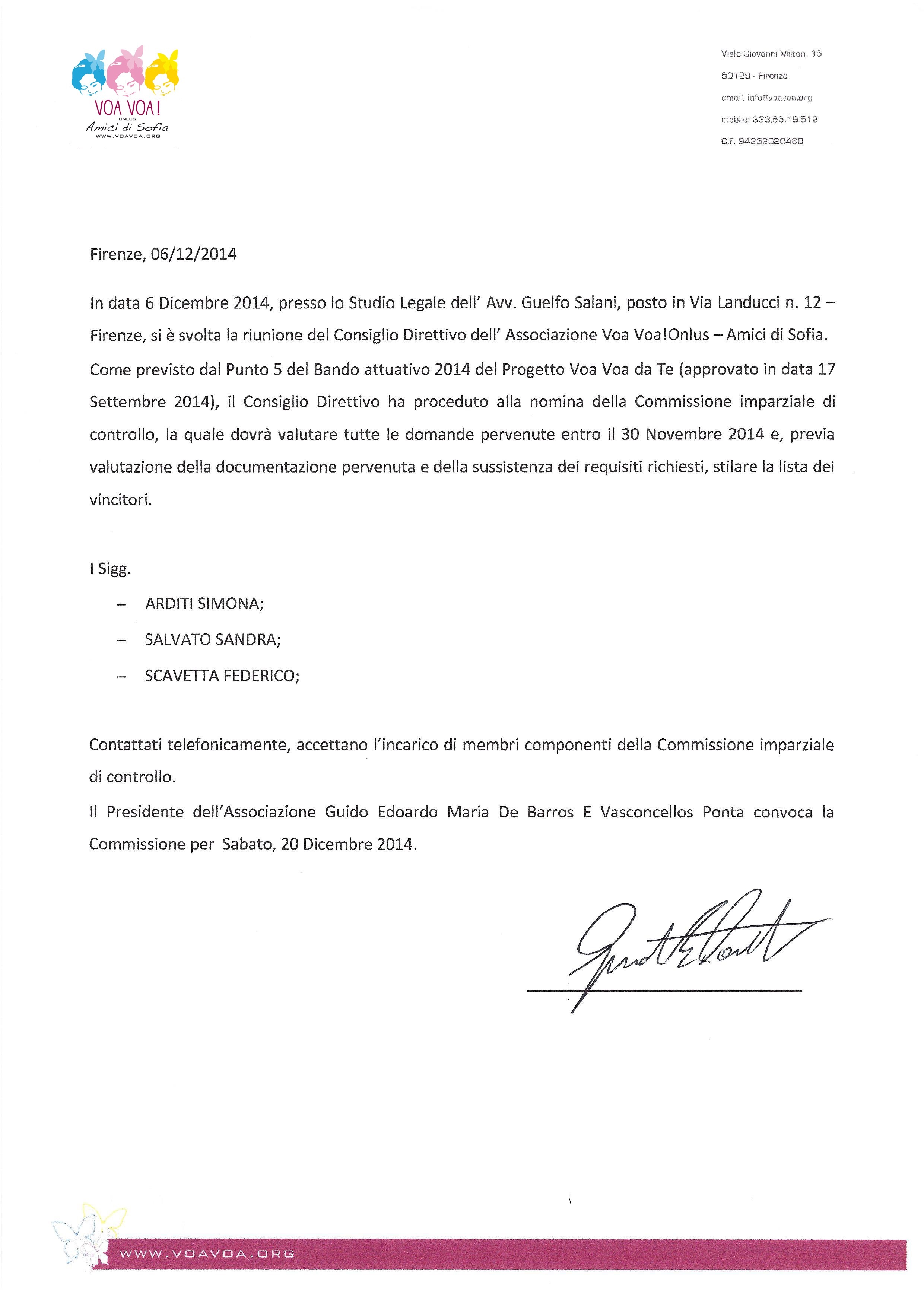 Nomina della Commissione imparziale di controllo 2014